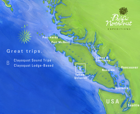 Clayoquot Sound Lodge Based Sea Kayaking Trip Area Map