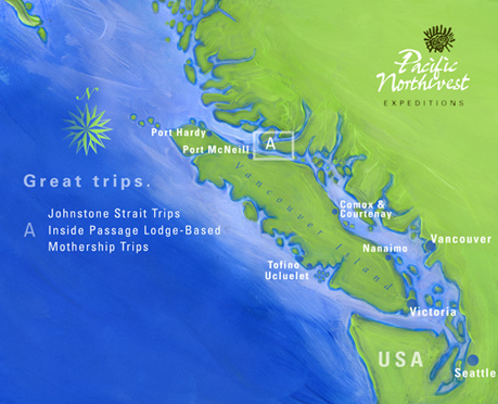 Johnstone Strait 4-Day Sea Kayaking with Killer Whales Trip Area Map
