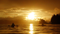 Sunrise paddling in Johnstone Strait